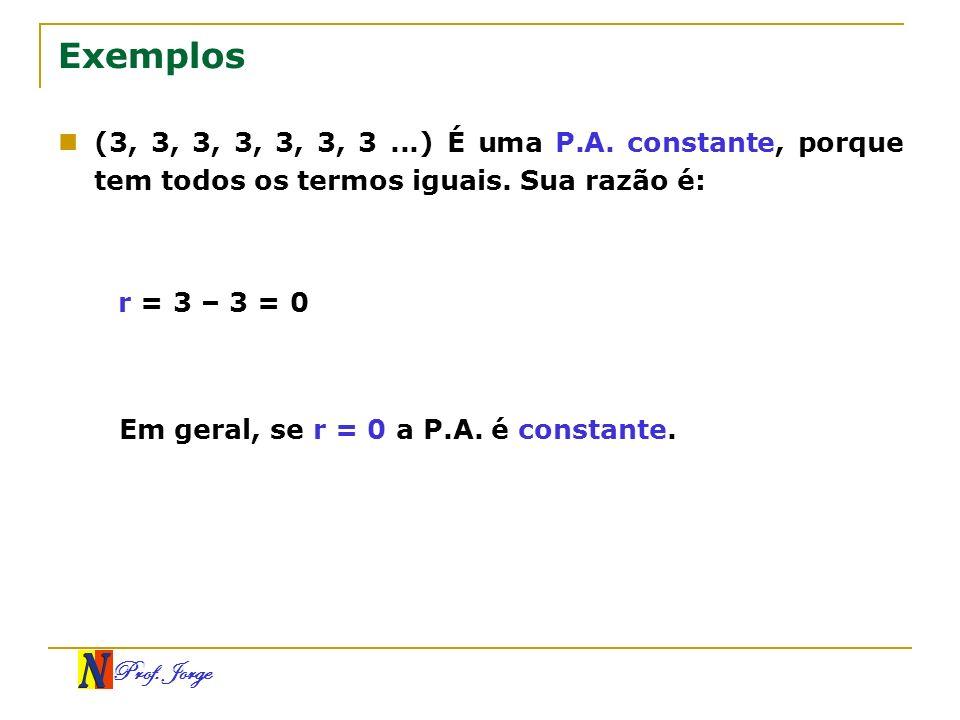 Exemplos(3, 3, 3, 3, 3, 3, 3 ...) É uma P.A. constante, porque tem todos os termos iguais. Sua razão é: