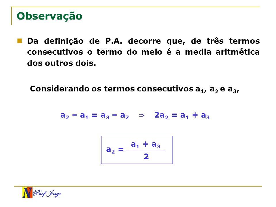 Observação Da definição de P.A. decorre que, de três termos consecutivos o termo do meio é a media aritmética dos outros dois.