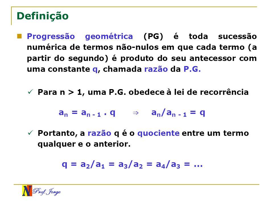 Definição an = an - 1 . q ⇒ an/an - 1 = q