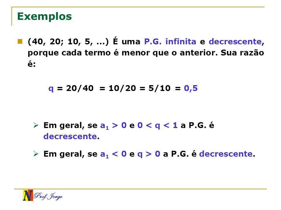 Exemplos (40, 20; 10, 5, ...) É uma P.G. infinita e decrescente, porque cada termo é menor que o anterior. Sua razão é: