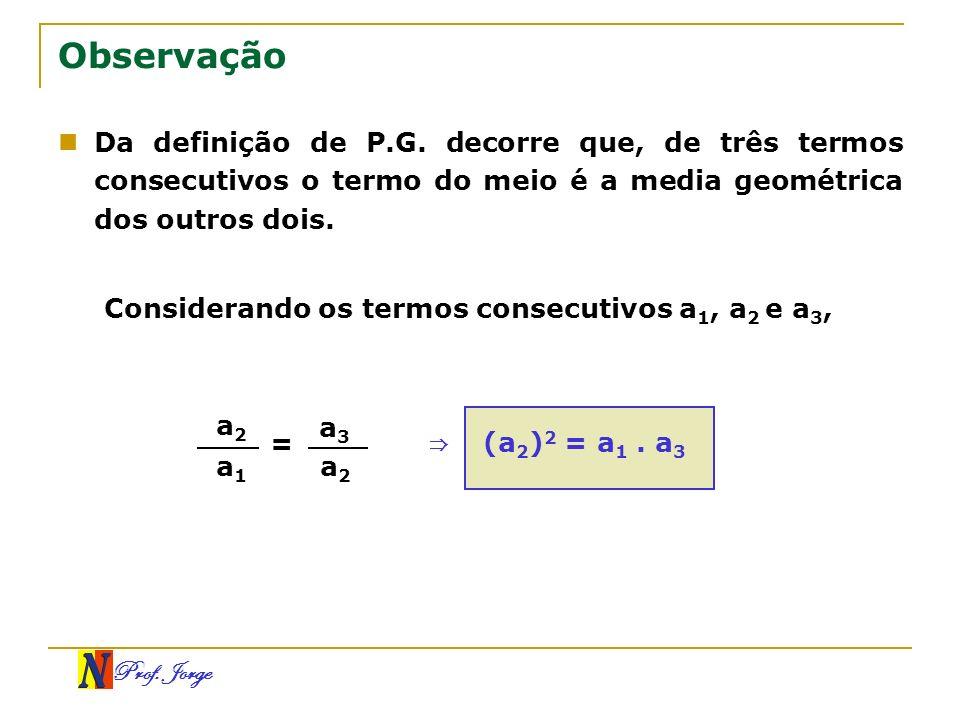 Observação Da definição de P.G. decorre que, de três termos consecutivos o termo do meio é a media geométrica dos outros dois.