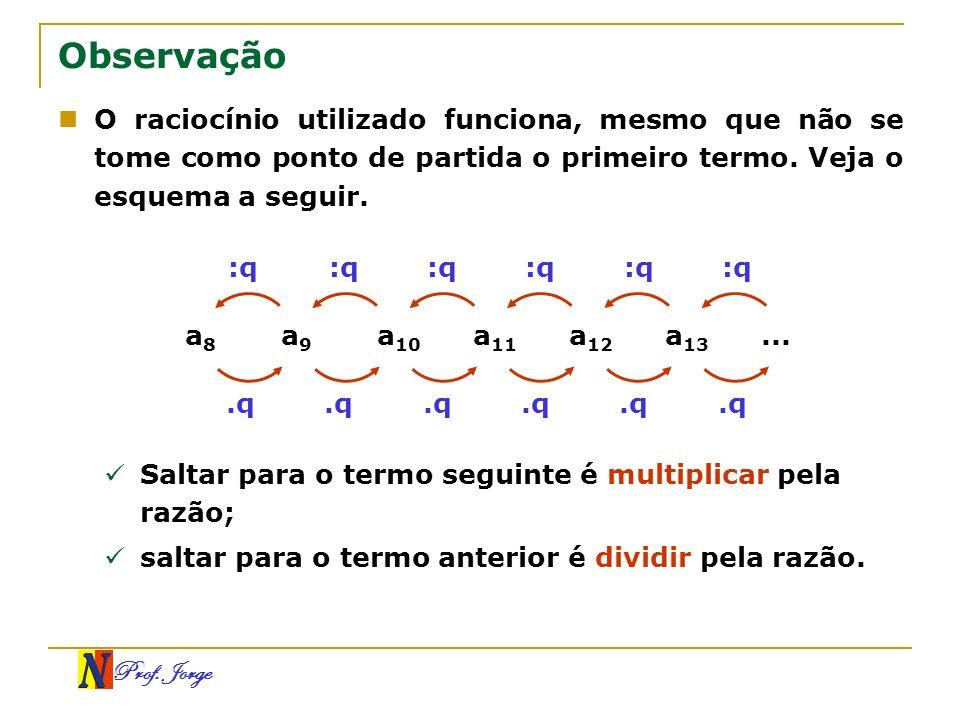 ObservaçãoO raciocínio utilizado funciona, mesmo que não se tome como ponto de partida o primeiro termo. Veja o esquema a seguir.