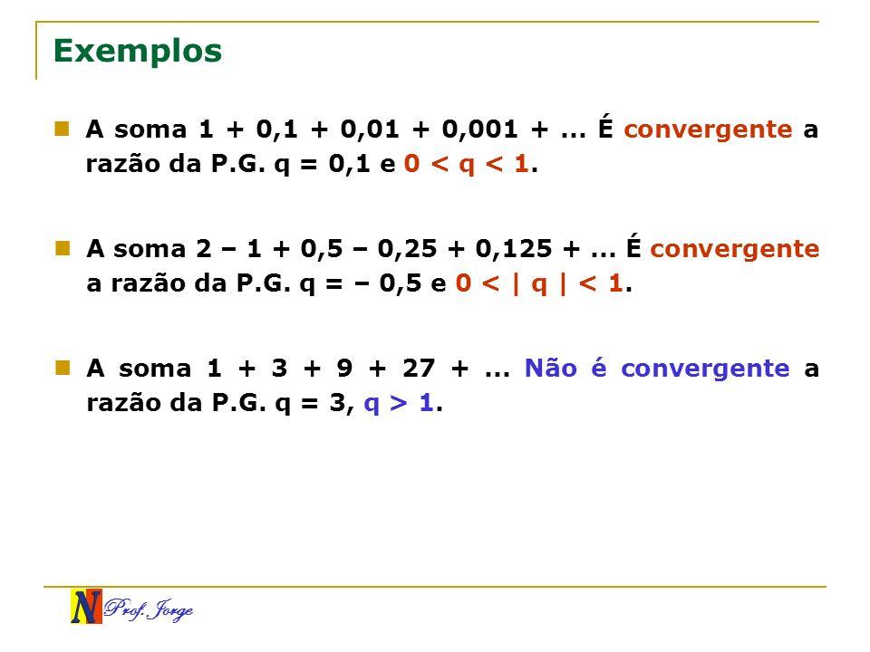 Exemplos A soma 1 + 0,1 + 0,01 + 0,001 + ... É convergente a razão da P.G. q = 0,1 e 0 < q < 1.