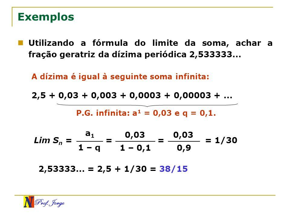 Exemplos Utilizando a fórmula do limite da soma, achar a fração geratriz da dízima periódica 2,533333...