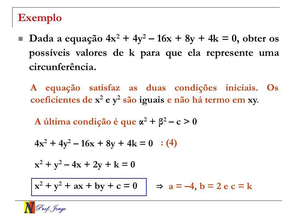 Exemplo Dada a equação 4x2 + 4y2 – 16x + 8y + 4k = 0, obter os possíveis valores de k para que ela represente uma circunferência.