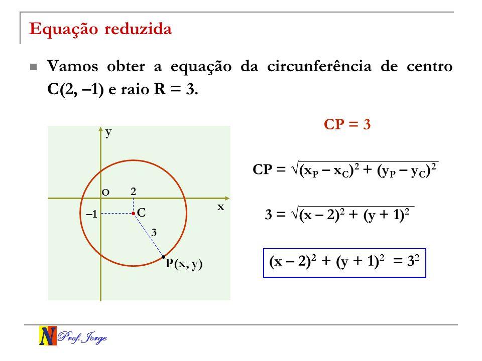 Equação reduzida Vamos obter a equação da circunferência de centro C(2, –1) e raio R = 3. CP = 3. y.