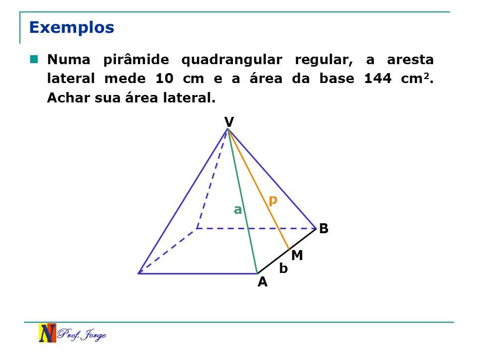 Exemplos Numa pirâmide quadrangular regular, a aresta lateral mede 10 cm e a área da base 144 cm2. Achar sua área lateral.