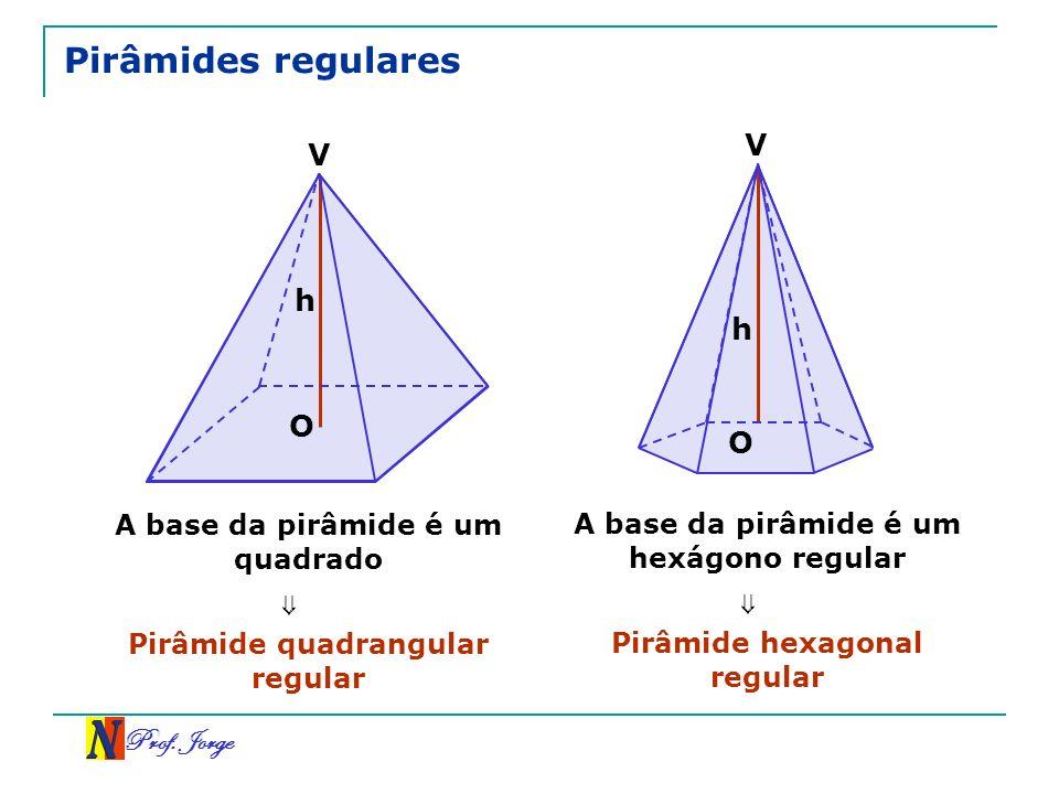 Pirâmides regulares V V h h O O ⇒ ⇒ Prof. Jorge