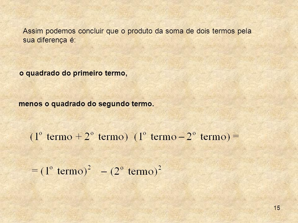 Assim podemos concluir que o produto da soma de dois termos pela sua diferença é: