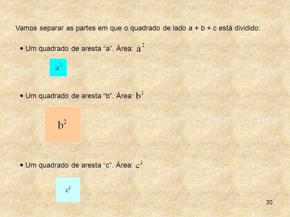 Vamos separar as partes em que o quadrado de lado a + b + c está dividido: