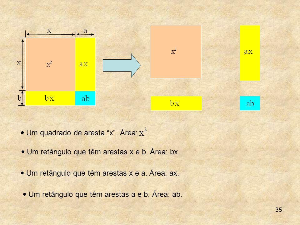Um quadrado de aresta x . Área: