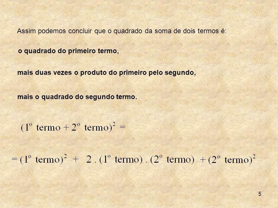 Assim podemos concluir que o quadrado da soma de dois termos é: