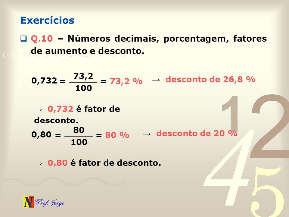 Exercícios Q.10 – Números decimais, porcentagem, fatores de aumento e desconto. 73,2. 0,732. → desconto de 26,8 %