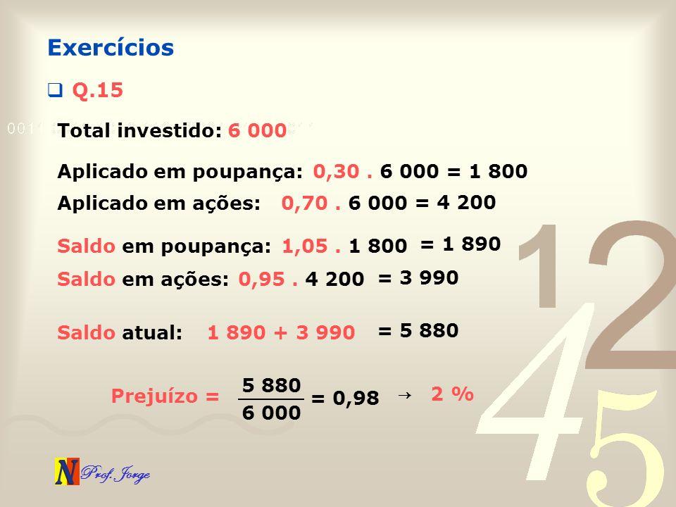 Exercícios Q.15 Total investido: 6 000 Aplicado em poupança:
