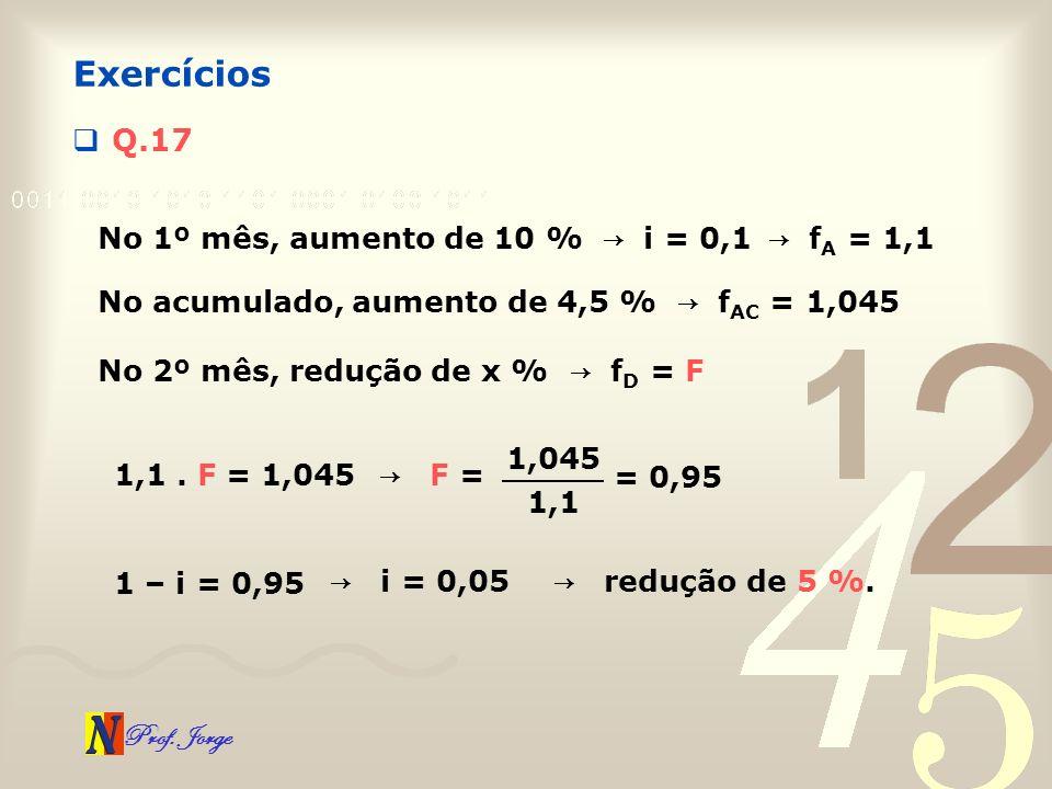 Exercícios Q.17 No 1º mês, aumento de 10 % → i = 0,1 → fA = 1,1