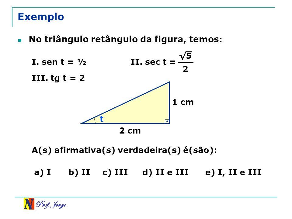 Exemplo No triângulo retângulo da figura, temos: √5 I. sen t = ½