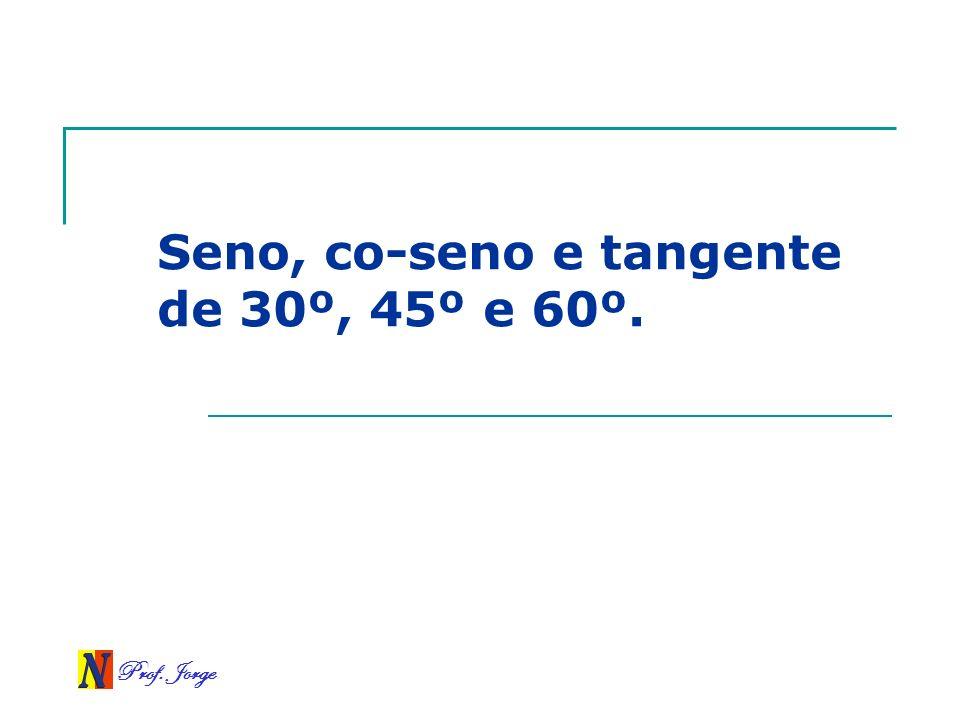 Seno, co-seno e tangente de 30º, 45º e 60º.