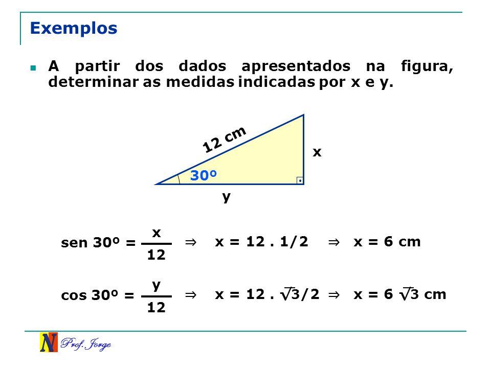 Exemplos A partir dos dados apresentados na figura, determinar as medidas indicadas por x e y. 12 cm.