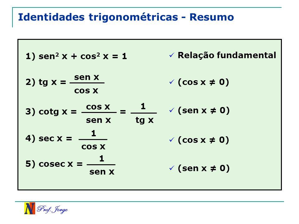 Identidades trigonométricas - Resumo
