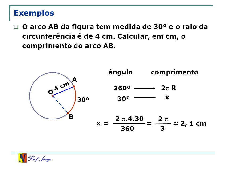 Exemplos O arco AB da figura tem medida de 30º e o raio da circunferência é de 4 cm. Calcular, em cm, o comprimento do arco AB.