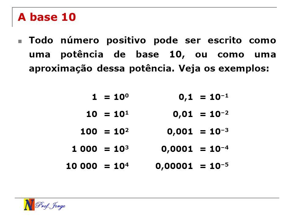 A base 10 Todo número positivo pode ser escrito como uma potência de base 10, ou como uma aproximação dessa potência. Veja os exemplos: