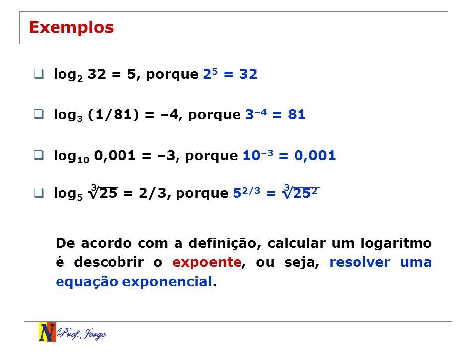 Exemplos log2 32 = 5, porque 25 = 32 log3 (1/81) = –4, porque 3–4 = 81