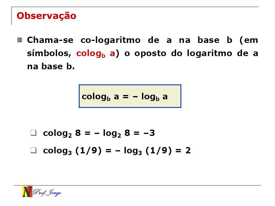 ObservaçãoChama-se co-logaritmo de a na base b (em símbolos, cologb a) o oposto do logaritmo de a na base b.