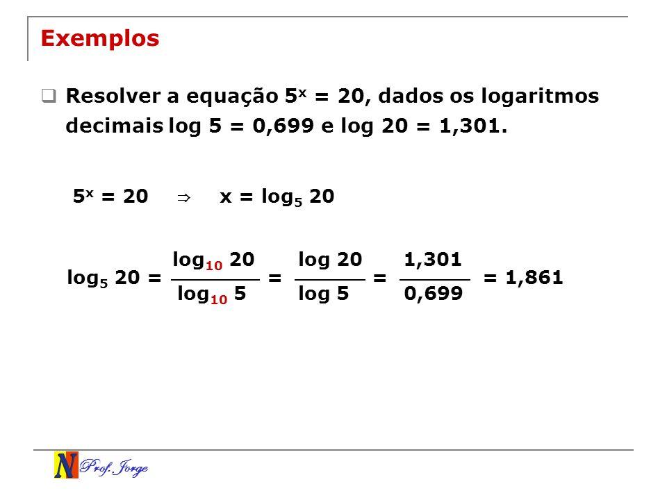 Exemplos Resolver a equação 5x = 20, dados os logaritmos decimais log 5 = 0,699 e log 20 = 1,301. 5x = 20.