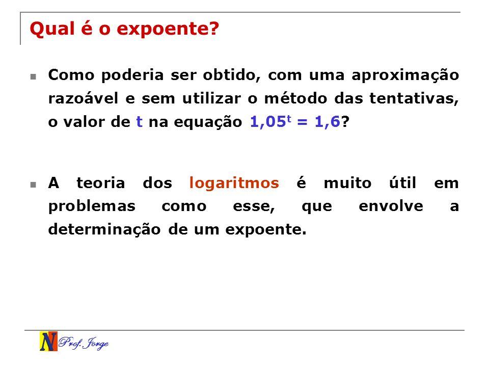 Qual é o expoente Como poderia ser obtido, com uma aproximação razoável e sem utilizar o método das tentativas, o valor de t na equação 1,05t = 1,6