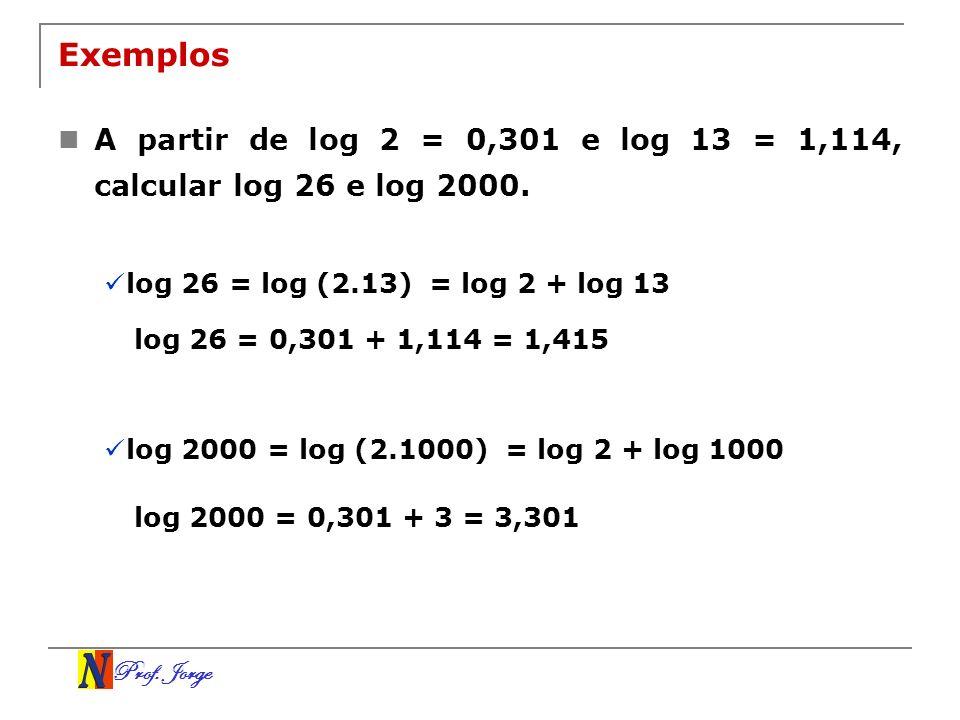 ExemplosA partir de log 2 = 0,301 e log 13 = 1,114, calcular log 26 e log 2000. log 26 = log (2.13)