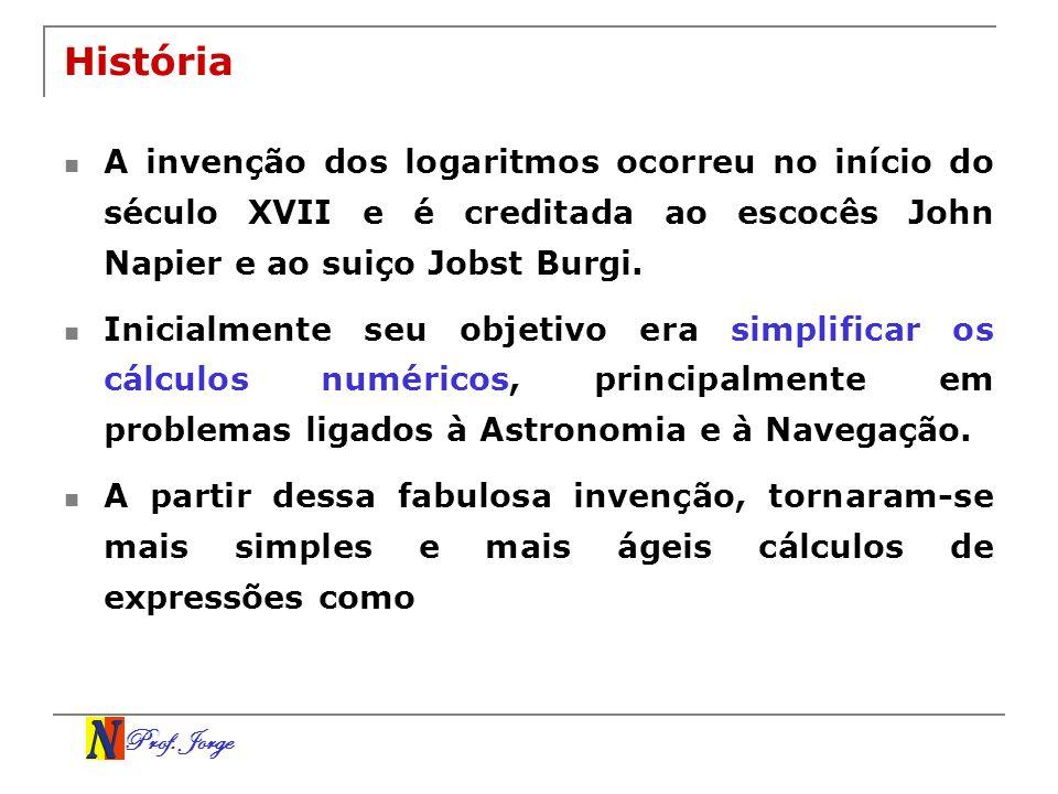 História A invenção dos logaritmos ocorreu no início do século XVII e é creditada ao escocês John Napier e ao suiço Jobst Burgi.