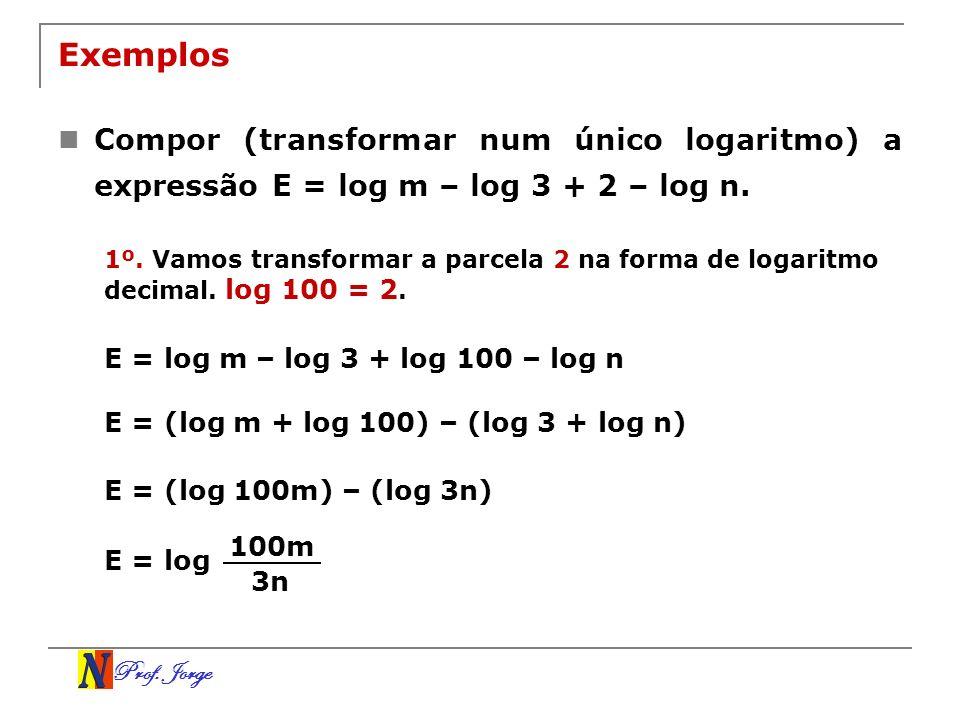 Exemplos Compor (transformar num único logaritmo) a expressão E = log m – log 3 + 2 – log n.