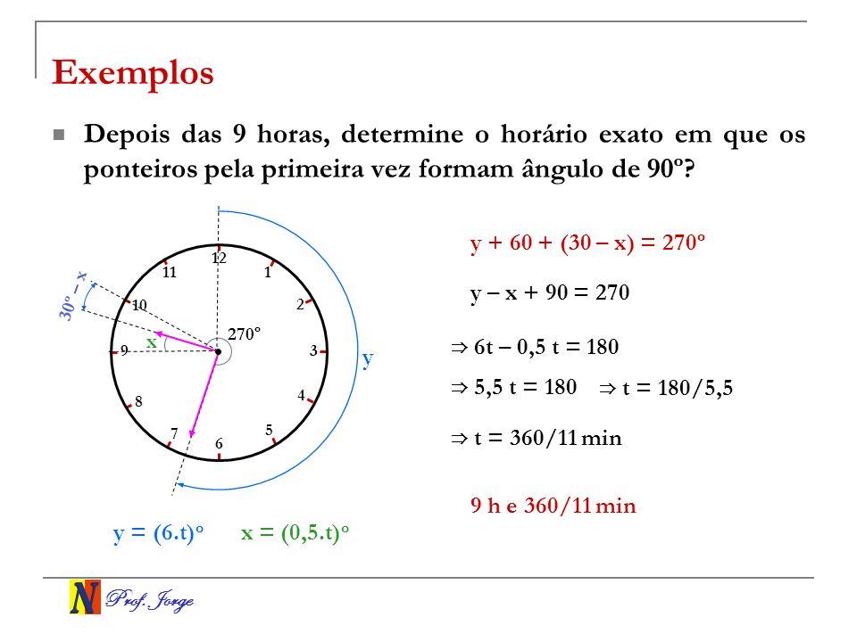 Exemplos Depois das 9 horas, determine o horário exato em que os ponteiros pela primeira vez formam ângulo de 90º