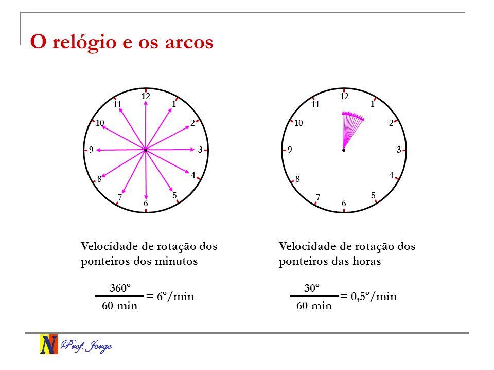 O relógio e os arcos Velocidade de rotação dos ponteiros dos minutos