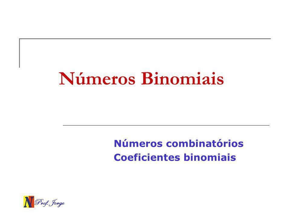 Números combinatórios Coeficientes binomiais