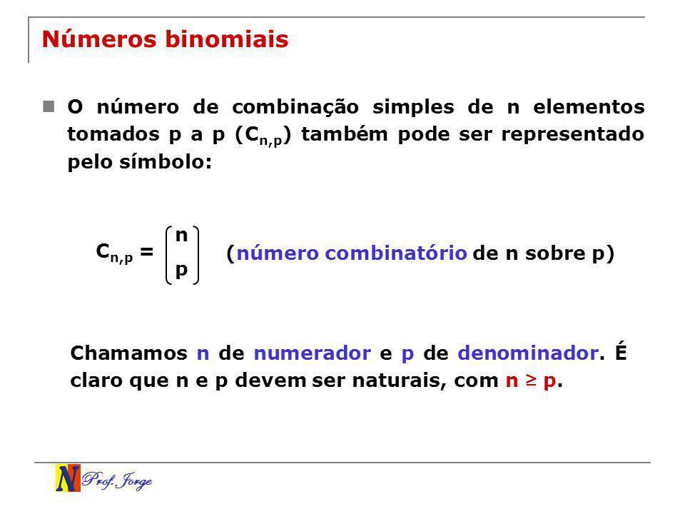 Números binomiais O número de combinação simples de n elementos tomados p a p (Cn,p) também pode ser representado pelo símbolo: