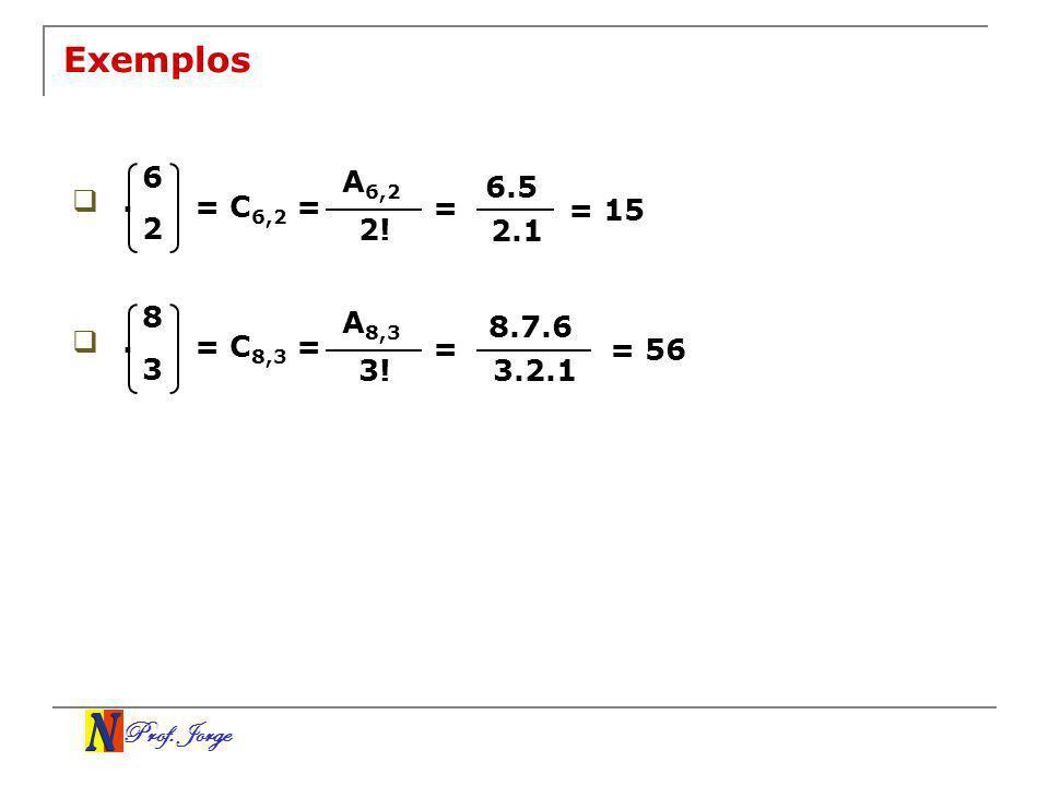 Exemplos6. A6,2. 6.5. . = C6,2 = = = 15. 2. 2! 2.1. 8. A8,3. 8.7.6. . = C8,3 = = = 56. 3. 3! 3.2.1.