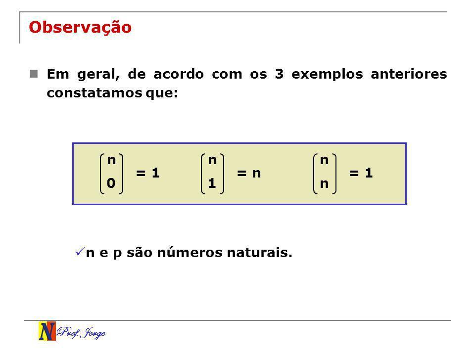 Observação Em geral, de acordo com os 3 exemplos anteriores constatamos que: n. n. n. = 1. = n.