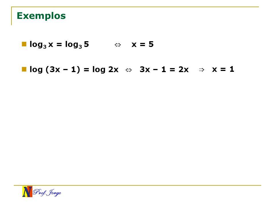 Exemplos log3 x = log3 5 ⇔ x = 5 log (3x – 1) = log 2x ⇔ 3x – 1 = 2x