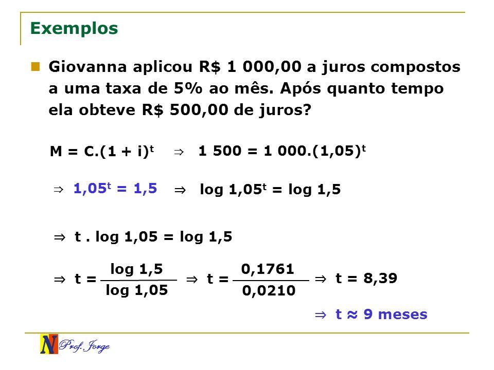 Exemplos Giovanna aplicou R$ 1 000,00 a juros compostos a uma taxa de 5% ao mês. Após quanto tempo ela obteve R$ 500,00 de juros