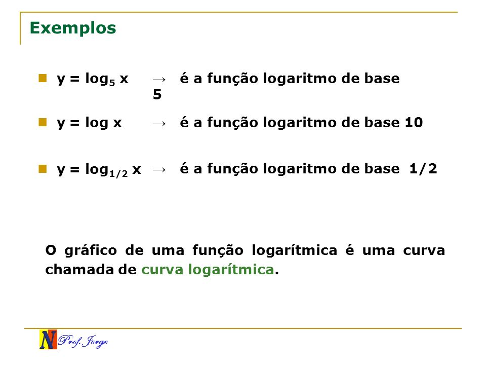 Exemplos y = log5 x → é a função logaritmo de base 5 y = log x