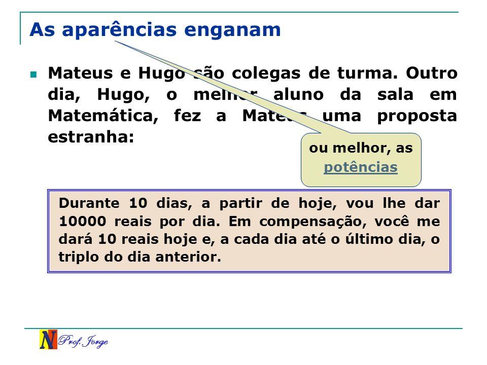 As aparências enganamMateus e Hugo são colegas de turma. Outro dia, Hugo, o melhor aluno da sala em Matemática, fez a Mateus uma proposta estranha: