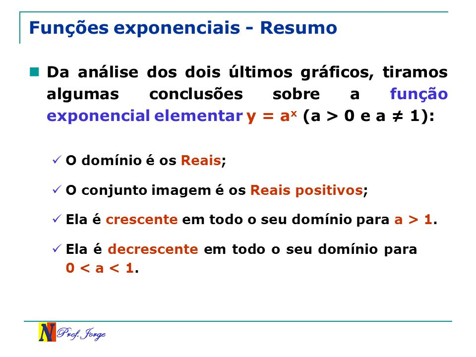 Funções exponenciais - Resumo