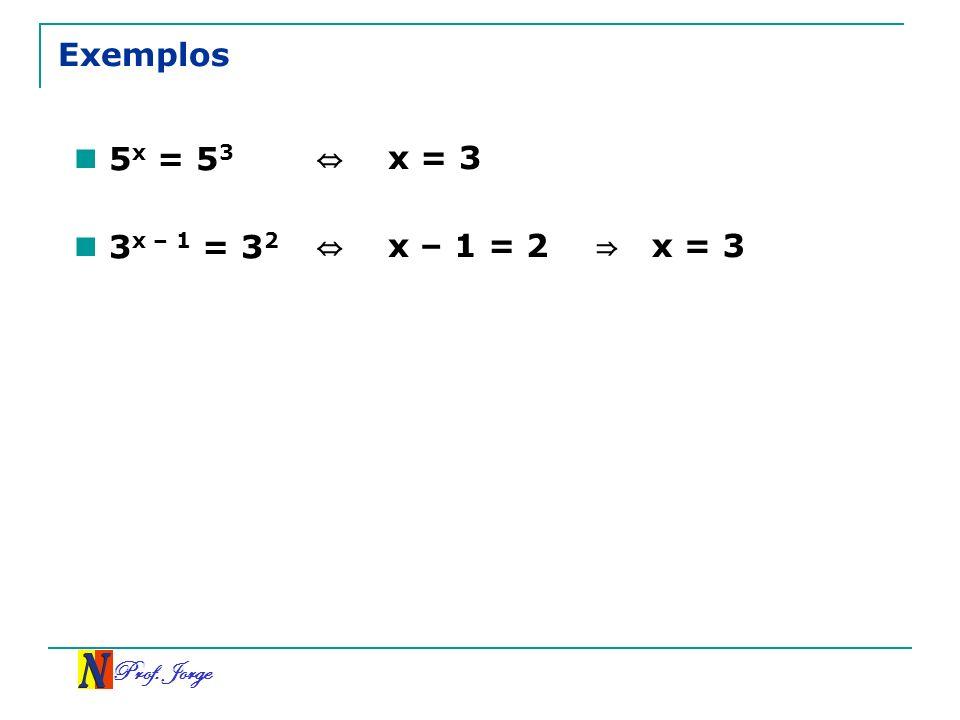 Exemplos 5x = 53 ⇔ x = 3 3x – 1 = 32 ⇔ x – 1 = 2 ⇒ x = 3 Prof. Jorge