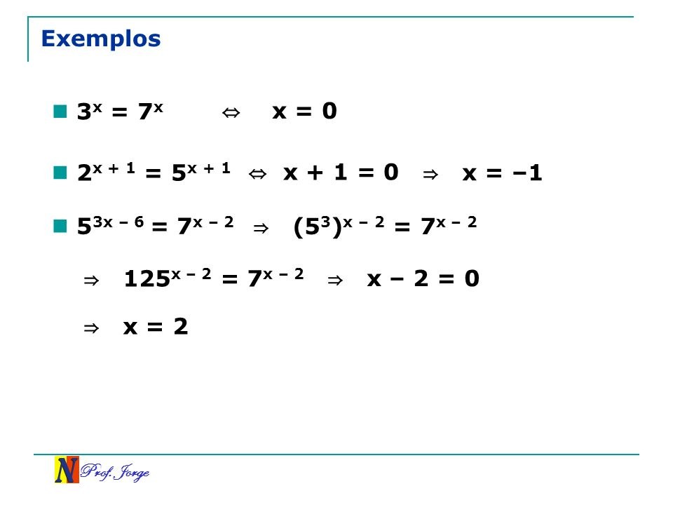 Exemplos 3x = 7x ⇔ x = 0 2x + 1 = 5x + 1 ⇔ x + 1 = 0 ⇒ x = –1
