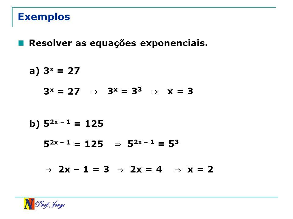 Exemplos Resolver as equações exponenciais. a) 3x = 27 3x = 27