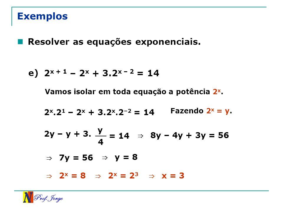 Exemplos Resolver as equações exponenciais. e)