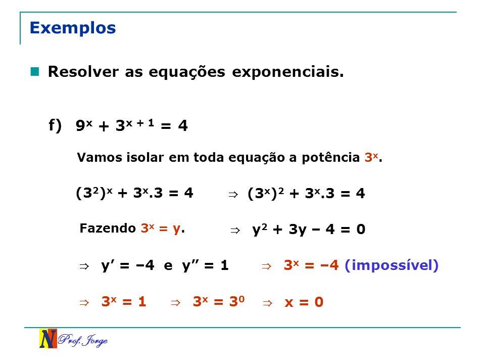 Exemplos Resolver as equações exponenciais. f) 9x + 3x + 1 = 4