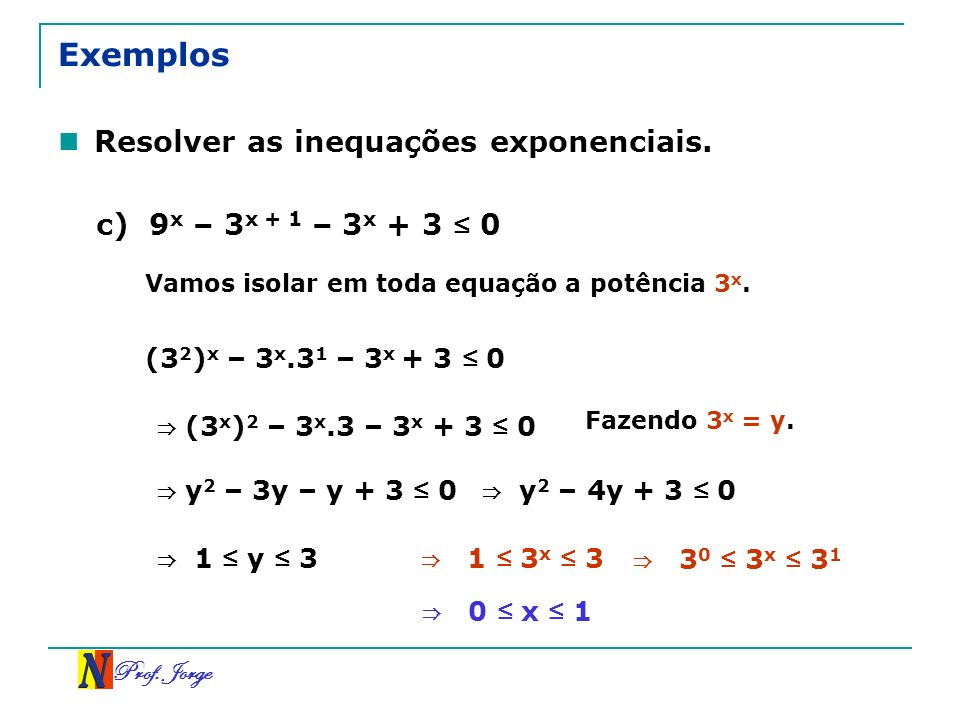 Exemplos Resolver as inequações exponenciais. c)