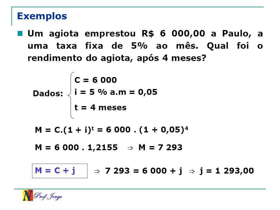 Exemplos Um agiota emprestou R$ 6 000,00 a Paulo, a uma taxa fixa de 5% ao mês. Qual foi o rendimento do agiota, após 4 meses